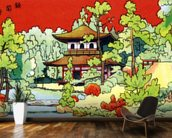 Illustration Of A Shrine In - Japan wall mural kitchen preview