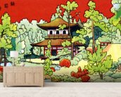 Illustration Of A Shrine In - Japan wall mural living room preview