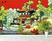 Illustration Of A Shrine In - Japan wall mural in-room view