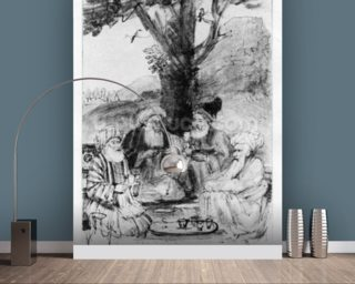 Four orientals seated under a tree, c.1659 (pen, ink & wash on paper) wallpaper mural