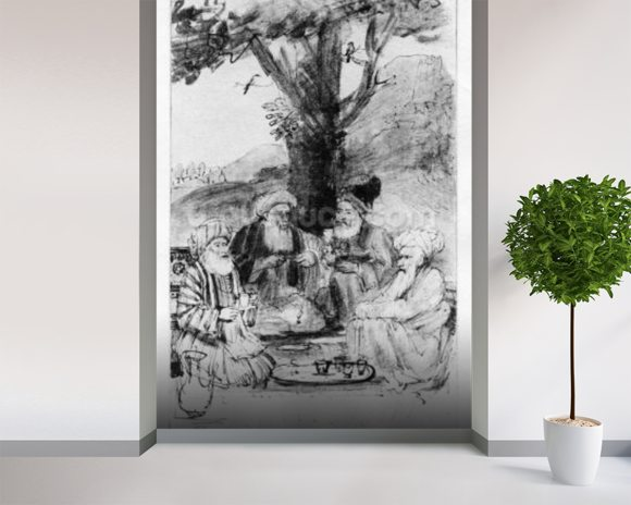 Four orientals seated under a tree, c.1659 (pen, ink & wash on paper) wallpaper mural room setting