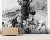 Four orientals seated under a tree, c.1659 (pen, ink & wash on paper) wallpaper mural living room preview