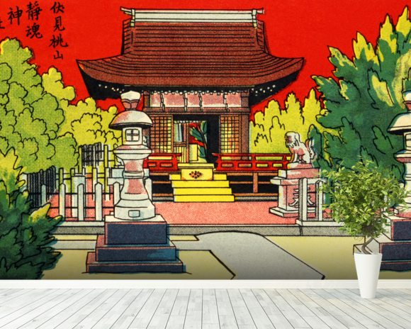 Japan Vintage - Illustration Of A Shrine In A Garden mural wallpaper room setting