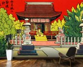 Japan Vintage - Illustration Of A Shrine In A Garden mural wallpaper kitchen preview