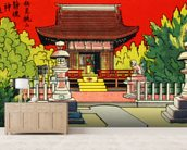 Japan Vintage - Illustration Of A Shrine In A Garden mural wallpaper living room preview