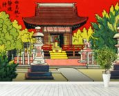 Japan Vintage - Illustration Of A Shrine In A Garden mural wallpaper in-room view