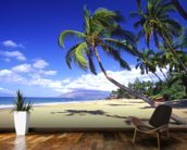 Palm Trees On A Beautiful Tropical Beach wallpaper mural kitchen preview