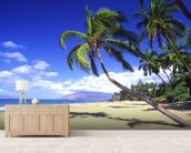 Palm Trees On A Beautiful Tropical Beach wallpaper mural living room preview
