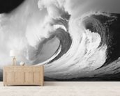 Stormy Ocean Wave Barrel wallpaper mural living room preview