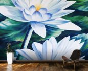 White Waterlilies In Pond - Oil Painting wall mural kitchen preview