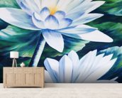 White Waterlilies In Pond - Oil Painting wall mural living room preview