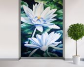 White Waterlilies In Pond - Oil Painting wall mural in-room view
