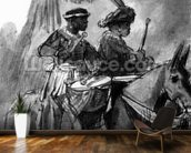 A Drummer and Commander mounted on mules, c.1638 (pen, ink & wash on paper) mural wallpaper kitchen preview