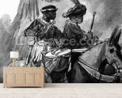 A Drummer and Commander mounted on mules, c.1638 (pen, ink & wash on paper) mural wallpaper living room preview