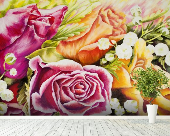 Colorful Flowers In Bouquet wall mural room setting
