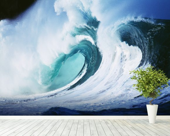 Stormy Ocean Wave Curling Over with Whitewash wallpaper mural room setting