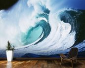 Stormy Ocean Wave Curling Over with Whitewash wallpaper mural kitchen preview