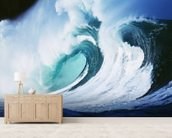 Stormy Ocean Wave Curling Over with Whitewash wallpaper mural living room preview