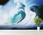 Stormy Ocean Wave Curling Over with Whitewash wallpaper mural in-room view