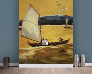 Outrigger Sailing Canoe Off Shore - C.1922 mural wallpaper