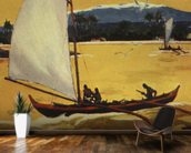 Outrigger Sailing Canoe Off Shore - C.1922 mural wallpaper kitchen preview