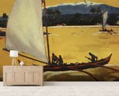 Outrigger Sailing Canoe Off Shore - C.1922 mural wallpaper living room preview