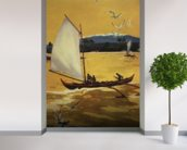 Outrigger Sailing Canoe Off Shore - C.1922 mural wallpaper in-room view