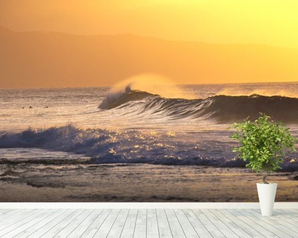 Wave At Sunset With Spray wall mural room setting
