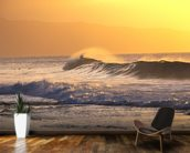 Wave At Sunset With Spray wall mural kitchen preview