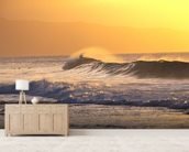 Wave At Sunset With Spray wall mural living room preview