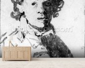Self-portrait as a young man, c.1628 (pen, ink & wash on paper) wallpaper mural living room preview