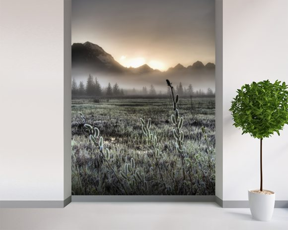 Morning Fog on the Copper River Highway wallpaper mural room setting