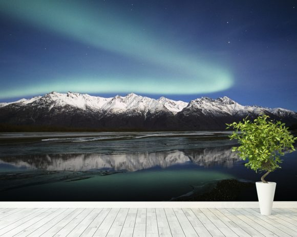 Northern Lights Over Chugach Mountains wallpaper mural room setting