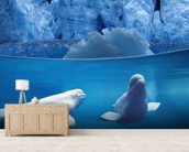 Belugas Underwater wallpaper mural living room preview