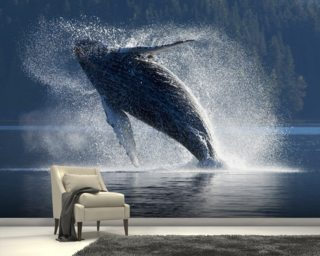 Whale Wallpaper Killer Blue Wall Murals