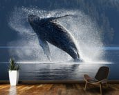 Humpback Whale Breaching - The Inside Passage mural wallpaper kitchen preview