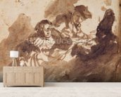 Reading (ink & wash on paper) wallpaper mural living room preview