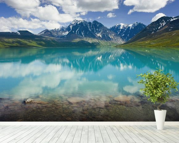 Turquoise Lake In Lake Clark National Park wall mural room setting