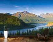 The Matanuska River And Chugach Mountains Below mural wallpaper kitchen preview