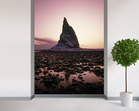 Sunset Over Rock Kayak Island wall mural room setting