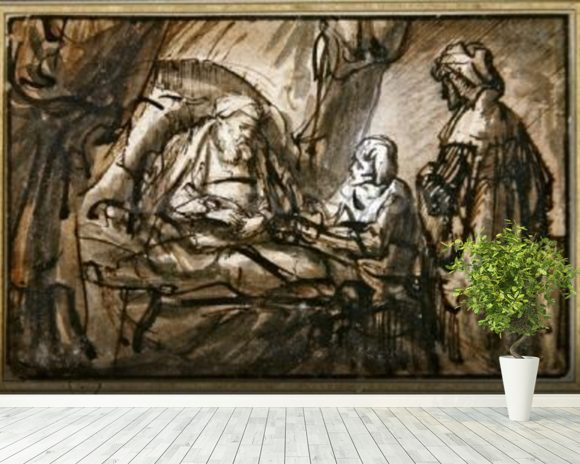 The Benediction of Isaac (pen & ink and wash) mural wallpaper room setting