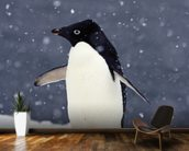 Adelie Penguin Standing In Fresh Falling Snow mural wallpaper kitchen preview