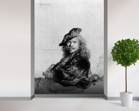 Self portrait leaning on a stone sill, 1639 (etching) (b/w photo) wall mural room setting