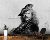 Self portrait leaning on a stone sill, 1639 (etching) (b/w photo) wall mural kitchen preview
