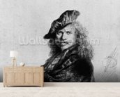 Self portrait leaning on a stone sill, 1639 (etching) (b/w photo) wall mural living room preview