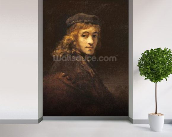 Titus, the Artists son, c.1662 (oil on canvas) wallpaper mural room setting