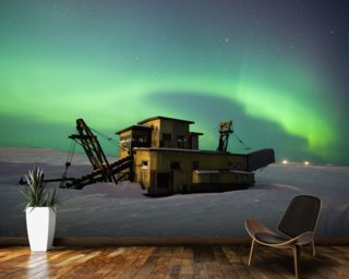 Green Northern Lights Dance Over a Gold Dredge wall mural