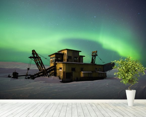 Green Northern Lights Dance Over a Gold Dredge wall mural room setting