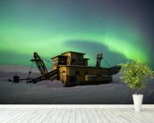 Green Northern Lights Dance Over a Gold Dredge wall mural in-room view
