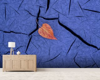 Autumn Colored Cottonwood Leaf mural wallpaper